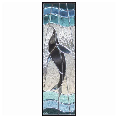 【送料無料】ステンドグラス (SH-C09) 一部鏡面ガラス 927×289×18mm デザイン 海 イルカ ピュアグラス Cサイズ (約8kg) ※代引不可