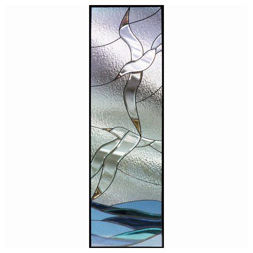 ステンドグラス (SH-B15) 一部鏡面ガラス 1625×480×20mm 海 Bサイズ (約24kg) ※代引不可 メーカー在庫限り