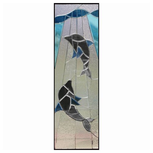【送料無料】ステンドグラス (SH-B14) 一部鏡面ガラス 1625×480×20mm イルカ Bサイズ (約24kg) メーカー在庫限り ※代引不可