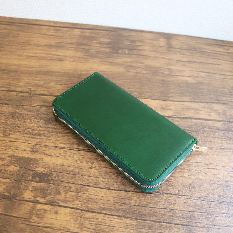 diyplus カードたくさん入る長財布レディース、メンズ 20春夏 イタリアンレザー、カード大容量収納モデル グリーン マチ3.0cm×横20.5cm×高さ11.0cm 300grziバレンタインデー