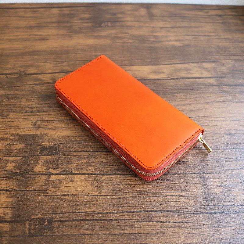 diyplus カードたくさん入る長財布レディース、メンズ 19秋冬 イタリアンレザー、カード大容量収納モデル オレンジ マチ3.0cm×横20.5cm×高さ11.0cm 300ozi