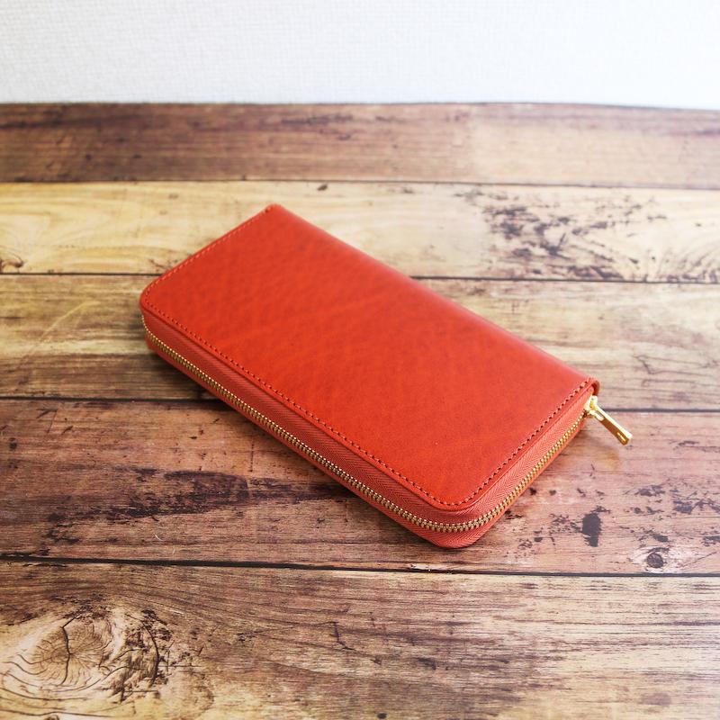 diyplus カードたくさん入る長財布レディース、メンズ 19秋冬 ルガトーレザー本革、カード大容量収納モデル オレンジ、金具ゴールド マチ3.0cm×横20.5cm×高さ11.0cm 400ozi
