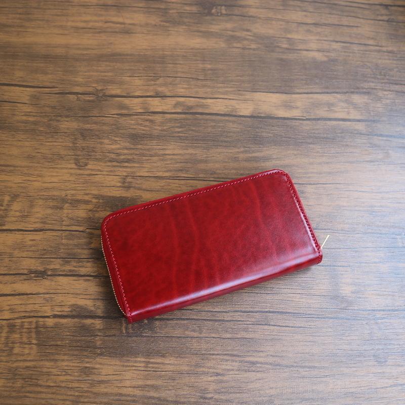 diyplus カードたくさん入る長財布レディース、メンズ 19秋冬 ルガトーレザー本革、カード大容量収納モデル レッド、金具ゴールド マチ3.0cm×横20.5cm×高さ11.0cm 400rzi