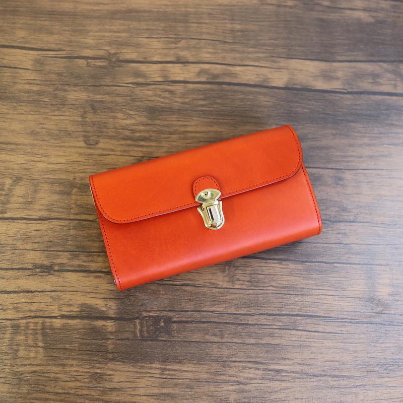 diyplus カードたくさん入る長財布レディース、メンズ 19秋冬 イタリアンレザー ブッテーロ カード大容量収納モデル オレンジ マチ4.5cm×横18.5cm×高さ10.5cm 300ome