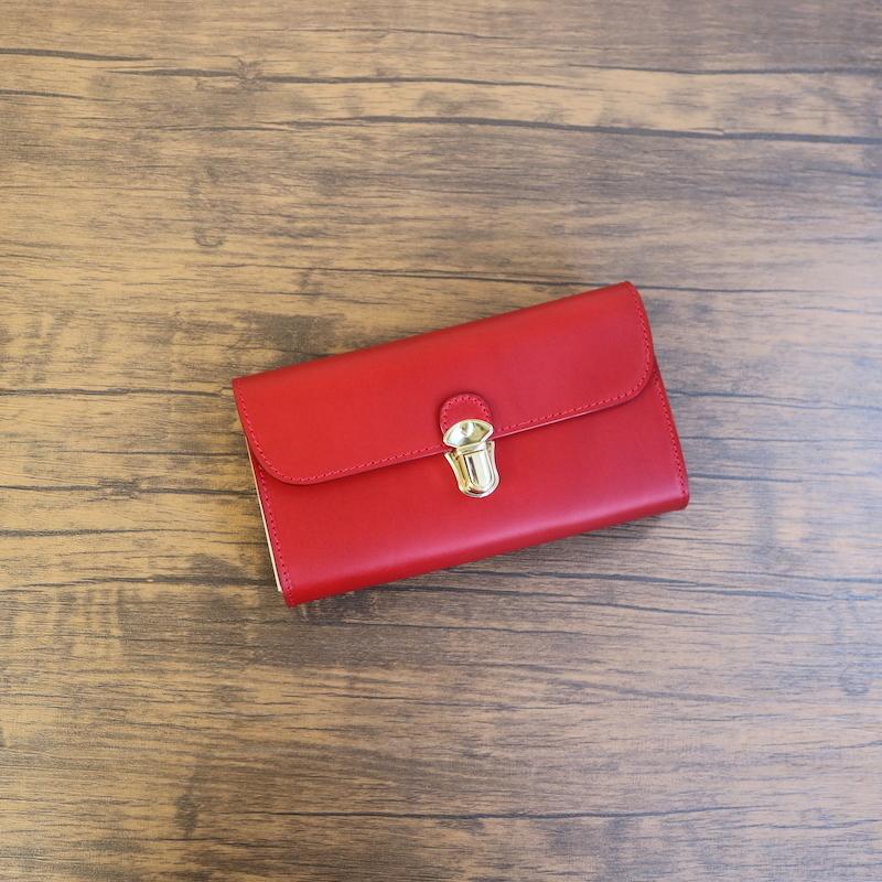 diyplus カードたくさん入る長財布レディース、メンズ 19秋冬 イタリアンレザー ブッテーロ カード大容量収納モデル レッド マチ4.5cm×横18.5cm×高さ10.5cm 300rme