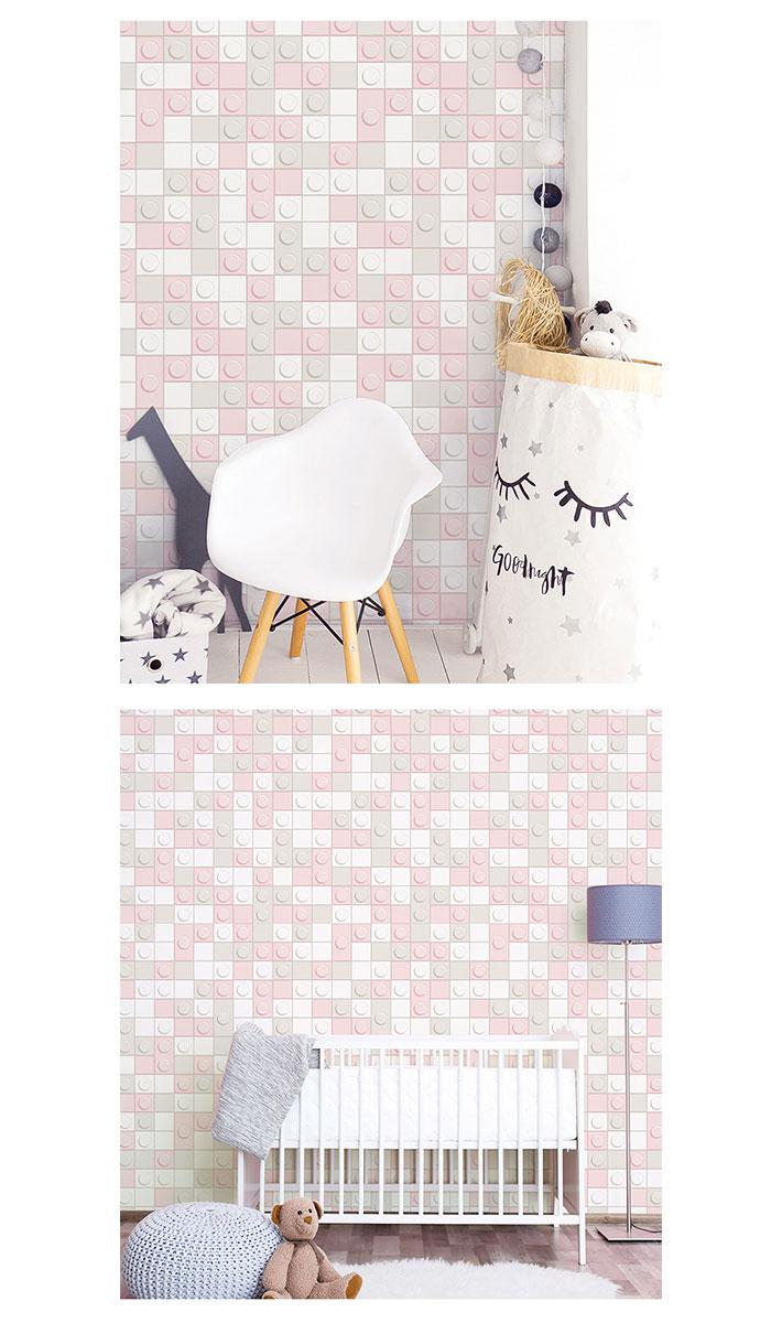在庫あり 即出荷可 白 ホワイト ブロック 輸入壁紙 リフォーム Diy カッティングシート アクセントクロス かわいい おしゃれ 北欧 リメイクシート 壁用 のり付き お得な壁紙30mセット ピンクグレーモザイクタイル柄の貼ってはがせる壁紙シール 壁紙 シール