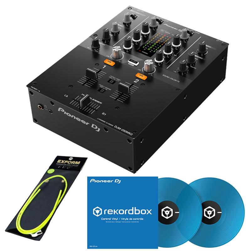 Pioneer DJ DJM-250MK2 + コントロールヴァイナルRB-VD1-CB DVS SET 【高品質 EXFORM製 USBケーブル プレゼント!】