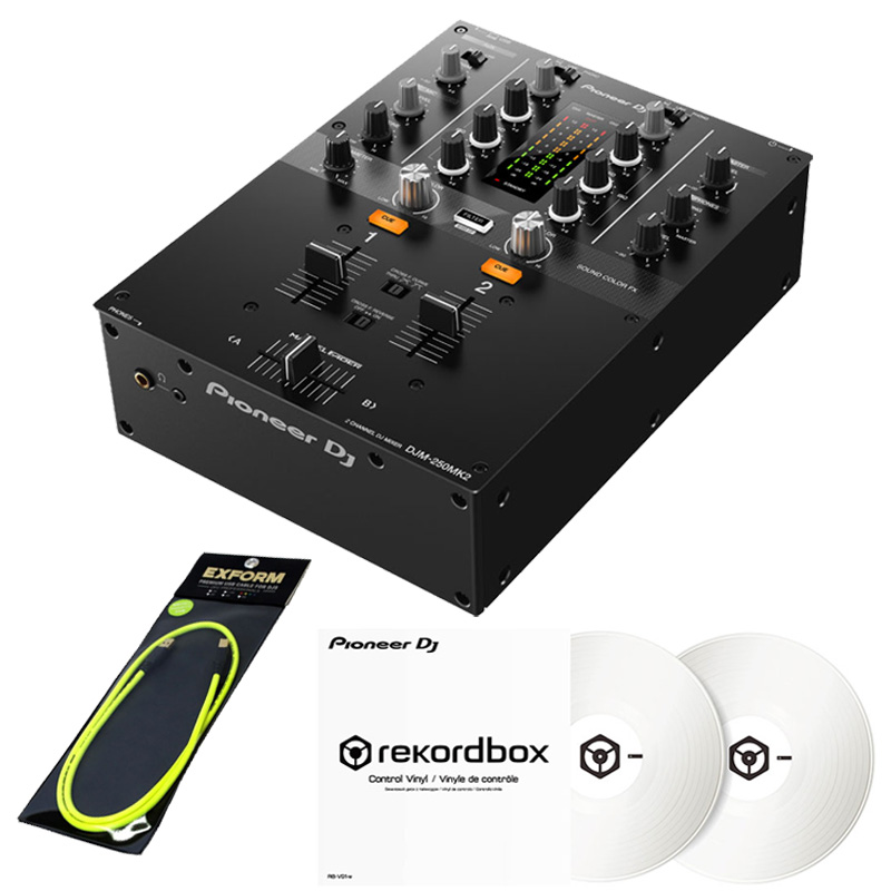 Pioneer DJ DJM-250MK2 + コントロールヴァイナルRB-VD1-W DVS SETT 【高品質 EXFORM製 USBケーブル プレゼント!】
