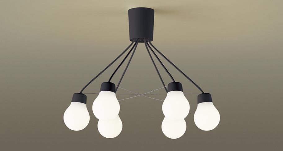 照明 おしゃれ シンプル モダン LEDパナソニック Panasonic 【LAMP DESIGN シリーズ シャンデリアLGB57628BCE1 電球色LGB57629BCE1 温白色ブラック 60形電球6灯器具相当・~6畳】