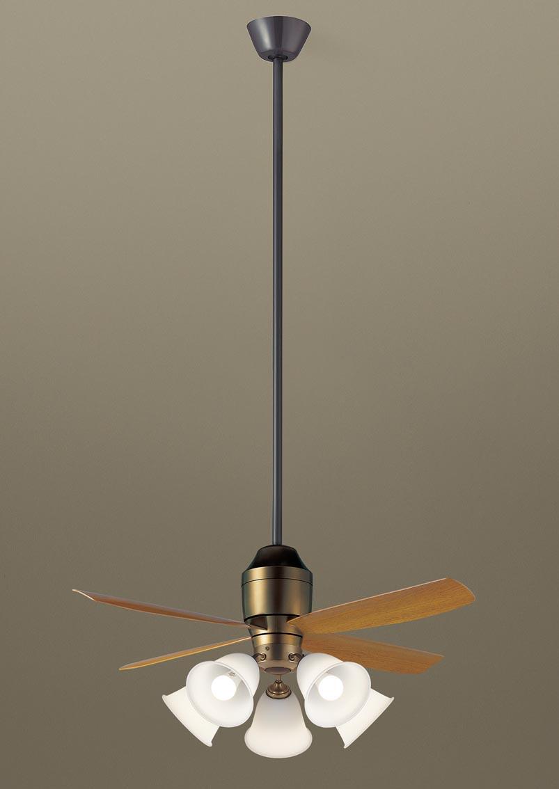 照明 おしゃれパナソニック Panasonic 【シーリングファン組合せセットXS73542 電球色幅:φ1100 mm 高:1980 mm 白熱電球100形5灯器具相当/~14畳】 ※リモコン送信器同梱条件により傾斜天井可能