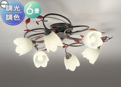 照明 おしゃれ シンプル モダン LEDオーデリック ODELIC 【シャンデリアOC257026PC 電球色~昼光色フェミニン&シックなフローラルスタイル 調光調色・~6畳】