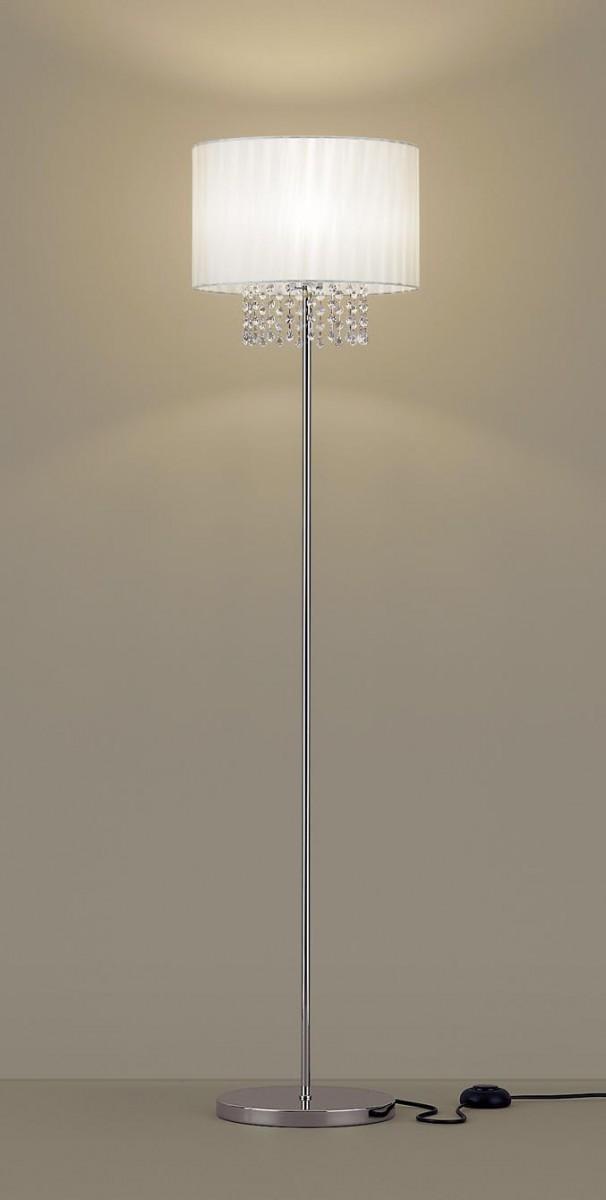 【無料プレゼント対象商品!】パナソニック Panasonic 【シャンデリングスタンドライトSF907 電球色クリスタルガラス(透明、オーストリア製) 布セード(アイボリー)フットスイッチ付 コード3m付60形電球1灯器具相当】