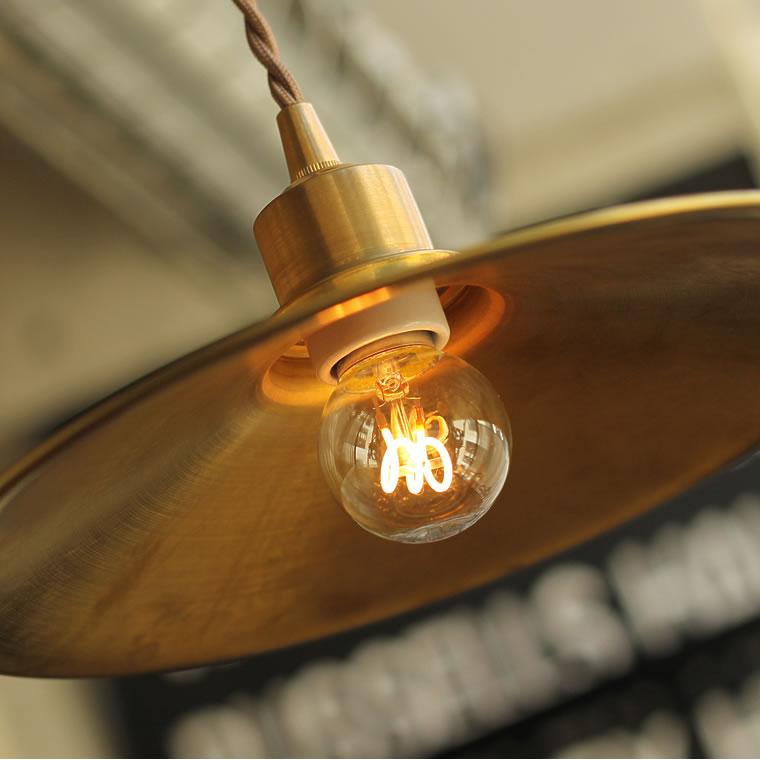 【E26スパイラル電球付き】ブラスペンダントシェード 真鍮 ゴールド アンティーク照明 レトロ ヴィンテージ アクシス E26用照明器具 1灯用