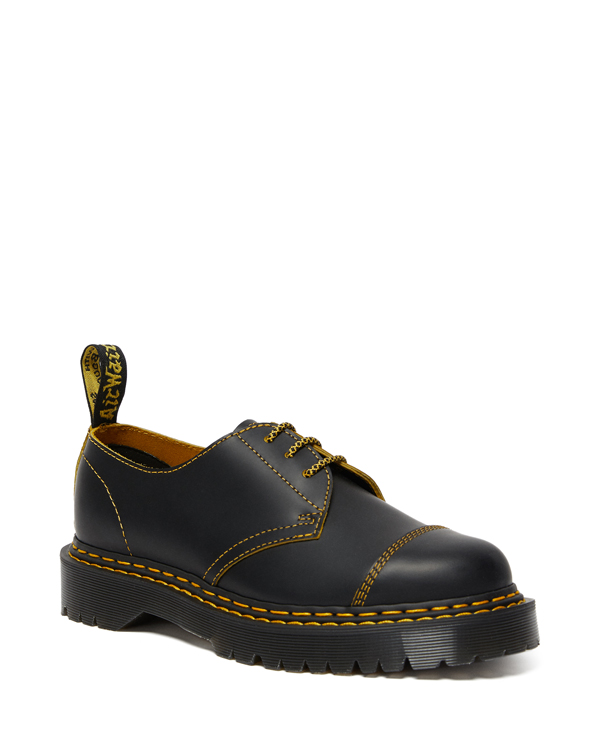 Dr.Martens 1461 Bex Double Stitch 3 Eye Shoe 25951032 Black+YellowSmooth Slice ドクターマーチン 1461 ダブルステッチ 厚底 3ホールシューズ メンズ レディース