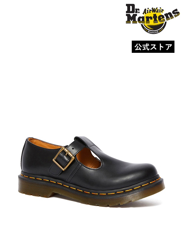 正規販売店 送料無料 代引き手数料無料 50年代に流行したクラシックなメリージェーンをモデルに復刻させた「ポリー Tバーシューズ」 【公式】ドクターマーチン レディース 初回交換送料無料 Polley T-Bar Mary Jane Shoe 14852001 Black Dr.Martens ポリー Tバー ストラップ メリージェーン イエローステッチ レディース