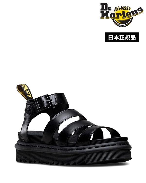 Dr.Martens Blaire Chunky 3 Strap Sandal 24191001 Black ドクターマーチン ブレア 3 ストラップ サンダル イエローステッチ シャークソール レディース
