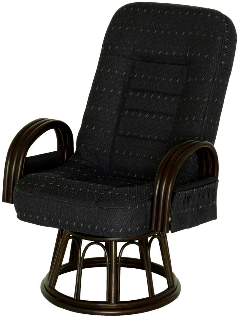 【お取り寄せ】ヤマソロ 【漣ーさざなみー】ラタン回転高座椅子(BL)|83-931
