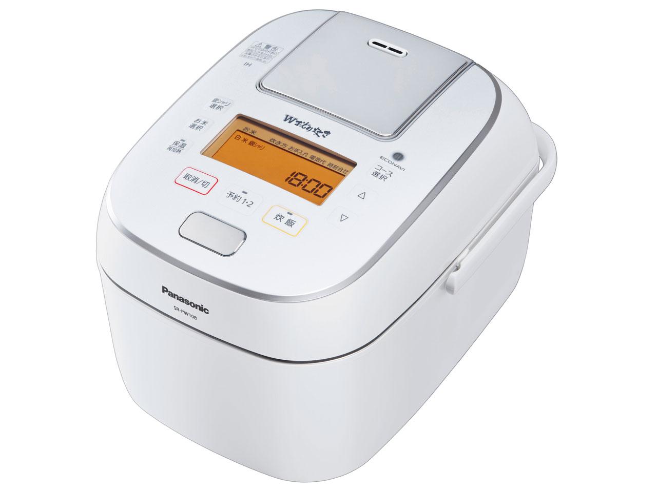 【お取り寄せ】パナソニック(Panasonic)可変圧力IH炊飯ジャー 「Wおどり炊き」(5.5合) ホワイト|SR-PW108-W