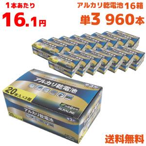 単三 単3 アルカリ 乾電池 電池 新作製品 世界最高品質人気 まとめ買い 長持ち 960本 60本入り 1箱 B-LA-T3X20 ラソス ×16箱=960本 一部地域を除く Lazos 送料無料※沖縄 キャンペーンもお見逃しなく 離島 60本入 16箱セット