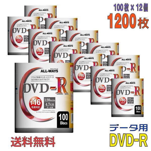 まとめ買いでお買い得 送料無料 送料込み価格 ※沖縄 離島を除く 不定期特価 初売り 記録メディア [並行輸入品] ALL-WAYS オールウェーズ DVD-R データ用 4.7GB 送料無料※沖縄 一部地域を除く 離島 100枚×12個 AL-S100P 1200枚 12個セット フィルムパッケージ品 ワイドホワイトレーベル 1-16倍速 ケースなし