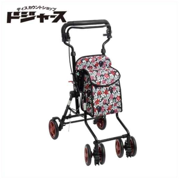 【島製作所】コンパクトシルバーカー【モート】(カラー:花柄BK) 手押し車
