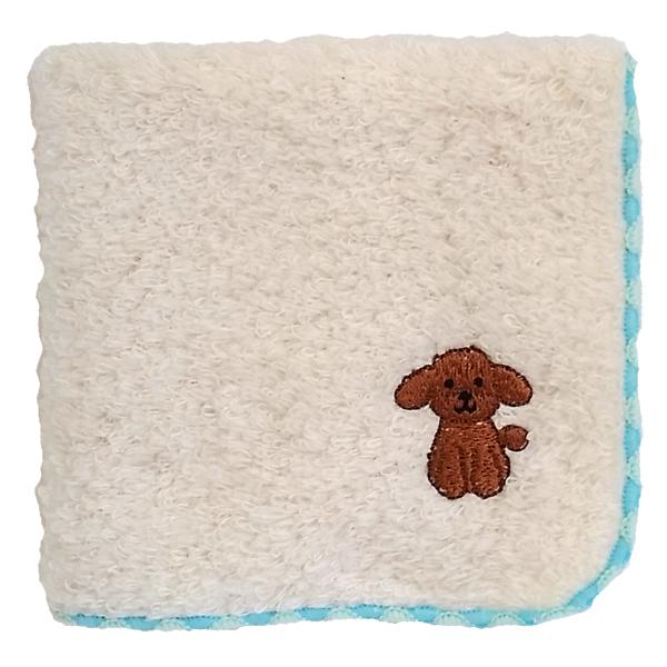 日本製 永遠の定番 無撚糸ならではの極上のふわふわ感 吸水性も抜群 メール便対応 トイプードル 驚きの価格が実現 ハンドタオル 無撚糸パイル 犬のワンポイント刺繍付き