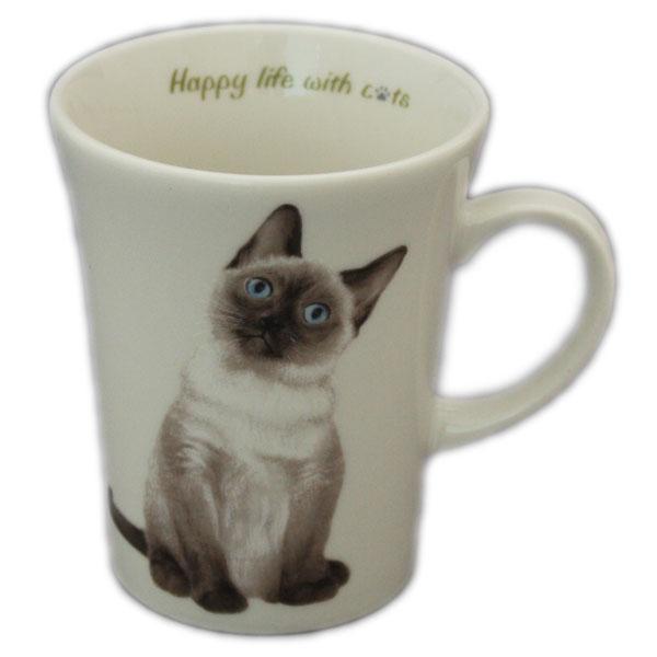 売り込み ご自分用でも ねこちゃんの大好きな方へのプレゼントでも にゃんコレ マグカップ N2 シャム猫雑貨 年中無休 犬グッズ