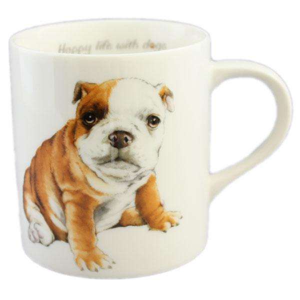 ご自分用でも メーカー直送 もちろん 箱付きですので わんこ好きなあの人にプレゼント わんコレ S34 ブルドッグ犬雑貨 犬グッズ マグカップ マート