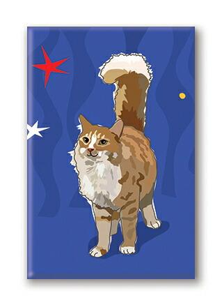 カラフル可愛いマグネット メール便OK マグネットシリーズ Cat [正規販売店] with 新品未使用 輸入雑貨 ねこグッズ star 猫雑貨