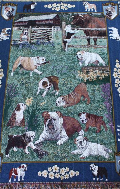 ゴブラン織り タペストリーブルドッグ輸入雑貨 犬雑貨 犬グッズ