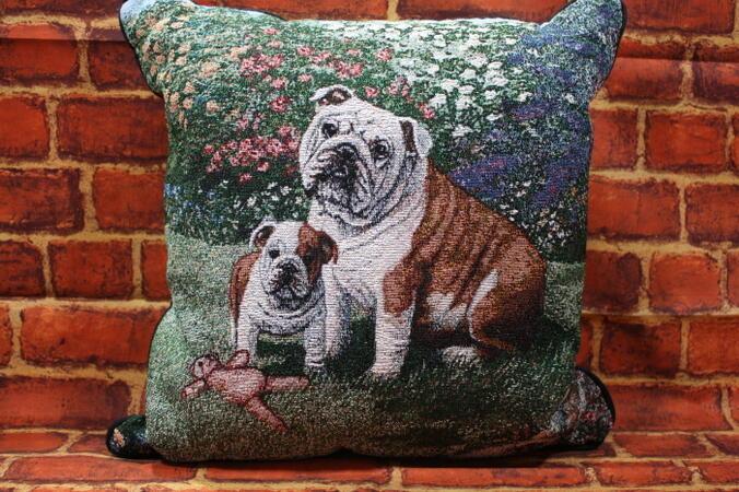 美しいゴブラン織り クッション 国内送料無料 ゴブラン織り 犬グッズ 商い 商品 犬雑貨 クッションブルドッグ輸入雑貨