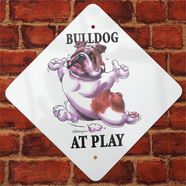 【在庫限り】AtPlayプレート【ブルドッグが遊んでいます】内穴タイプ犬雑貨 犬グッズ 輸入雑貨 ウェルカムボード