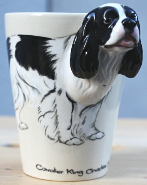 お顔が立体 キュートなカップ ドッグCOLLECTIBULE ラッピング無料 セラミックマグ キャバリア キング チャールズ スパニエル ホワイト ブラック 最安値 犬グッズ 犬雑貨