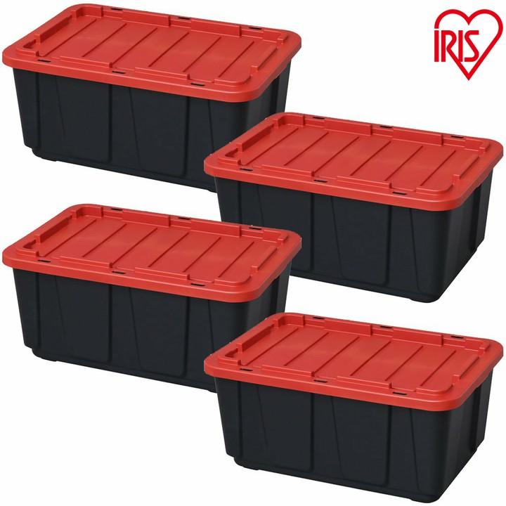 【4個セット】タフボックス ブラック/レッド THB-98×4送料無料 収納 大容量 積み重ね スタッキング 押入れ 工具 季節収納 衣類 アイリスオーヤマ
