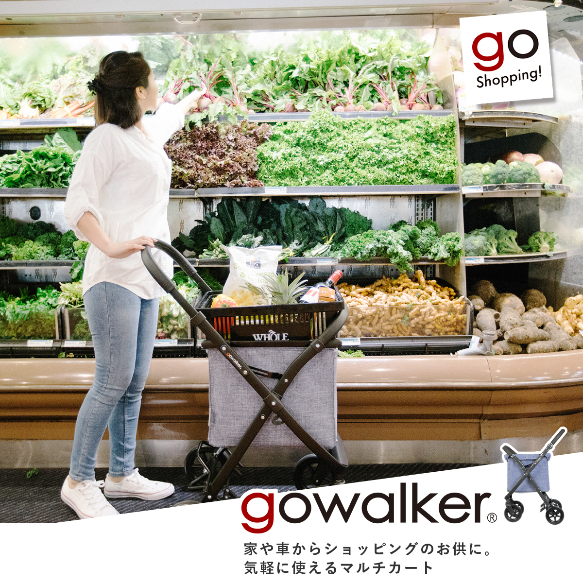 ゴーウォーカー(gowalker)[マルチバッグ+フレームセット][買い物 4輪 ショッピング マルチカート ショッピングカート キャリーバッグ ペットカート]