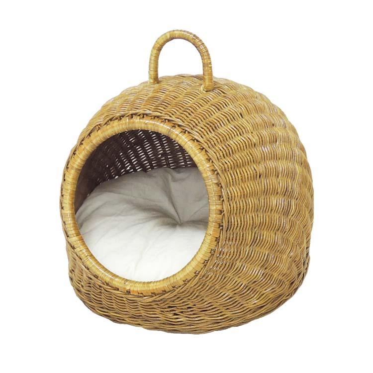 ニャンともラタンにゃん段ドーム 送料無料 猫用 キャット ネコ ペットベッド 猫ベッド ドーム型 手編み 動物用 ペッツルート 【TC】
