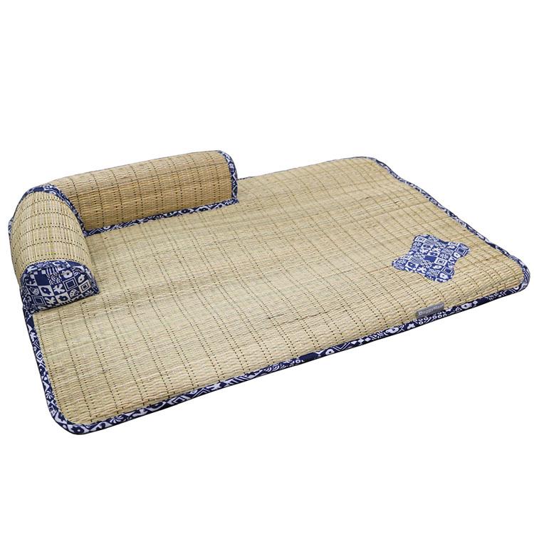 ござわん 枕つき 朝涼み マット 犬 夏用 ベッド さらさら 自然素材 枕 ヒンヤリ わら ドギーマン 【D】