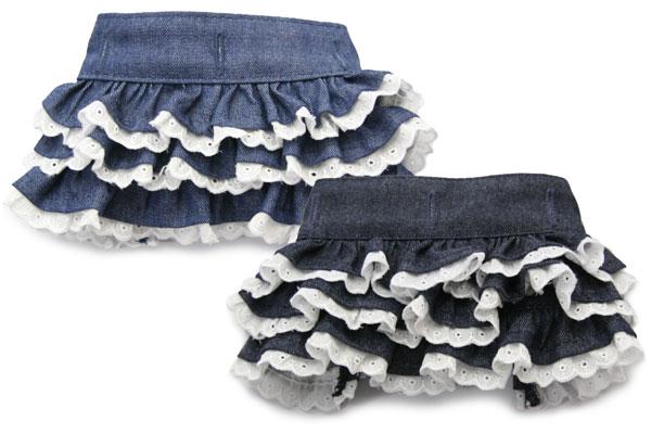 上等 デニムレースギャザースカート 内祝い マッチングスタイル対応
