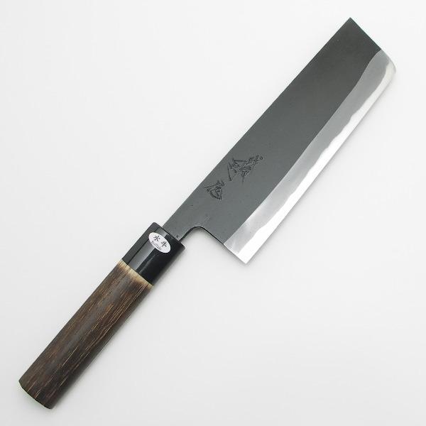 越後三条 日野浦司作 黒仕上げ 菜切り包丁 両刃 165mm 焼栗変わり柄 その2