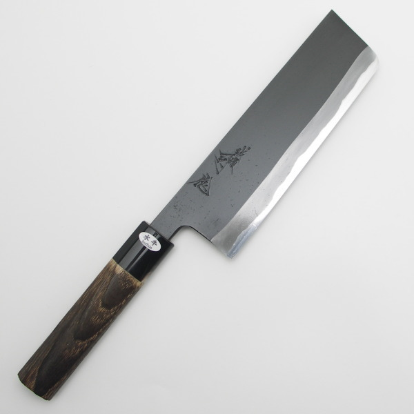 越後三条 日野浦司作 黒仕上げ 菜切り包丁 両刃 165mm 焼栗変わり柄 その3
