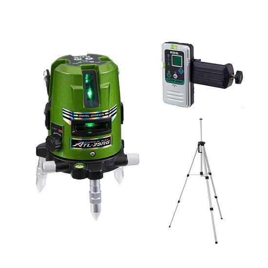 温度特性に優れた高輝度リアルグリーン! ムラテックKDS 高輝度グリーンレーザー墨出器 [ ATL-25RGRSA ] 受光器・三脚付き