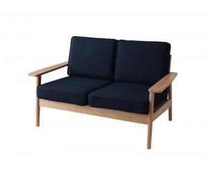 タモ 2人掛け コンパクト シンプル 木肘 ソファ 125cm 2P 天然木 無垢 木製 組み立て式 (40102310) モスグリーン/ネイビー/グレー/ブラウン