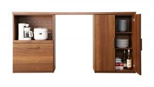 日本製 国産 ワイドキッチンカウンター Walkit ウォルキット レンジ台 +食器棚 180cm(ゴミ箱収納付き)Cタイプ 完成品 天然木調 キッチン収納 キッチンカウンター (500033472)
