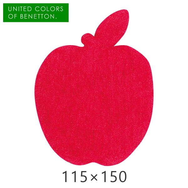 ラグ かわいい お部屋のポイントに使いたいシルエット型アクセントラグ フルーツ柄 リンゴ りんご 林檎 くだもの ラグマット 【 アップル 115×150cm 】 プレーベル カーペット ラグ 子ども部屋 ホットカーペット対応 ラグ キッズルーム