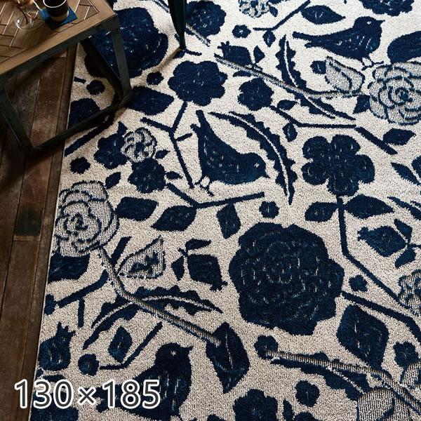 ラグ 北欧 クコラグ 130×185cm スミノエ ラグ カーペット デザインライフ ラグ ホットカーペット対応 床暖対応 ブルー フラワー 花柄 日本製 国産 ラグ