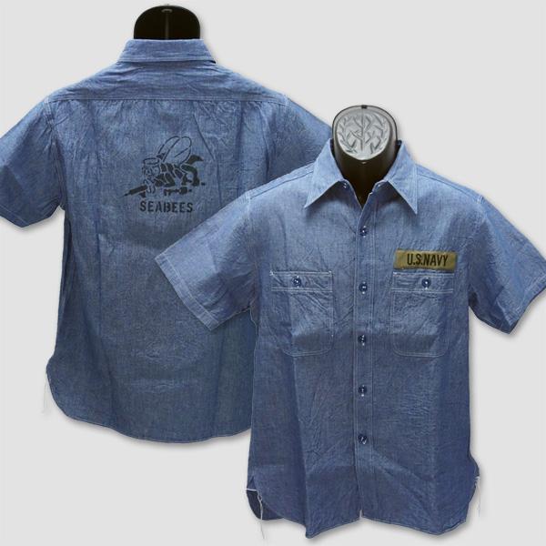"""バズ・リクソンズ BUZZ RICKSON'S 半袖ブルーシャンブレイ・プリントワークシャツ """"BLUE SHAMBRAY S/S PRINT WORK SHIRT"""" BR38141"""