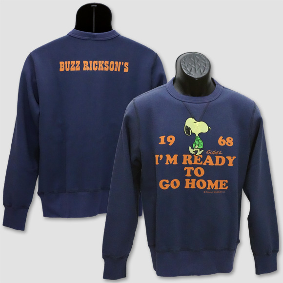 """バズ・リクソンズ BUZZ RICKSON'S ミリタリーピーナツ・スウェットトレーナー """"I'M READY TO GO HOME"""" BR68074"""