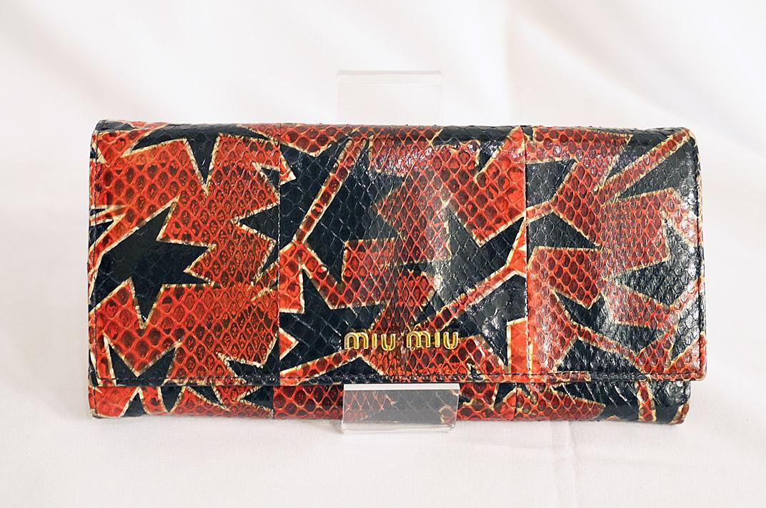 miu miu(ミュウミュウ)二つ折り長財布 【中古】【人気】【お買い得】1001.