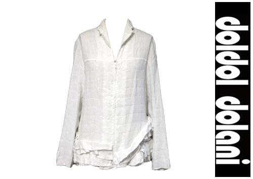 レディース白ラメフリルシャツ