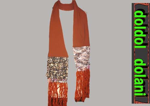 シルク編み込みロングマフラー男女兼用